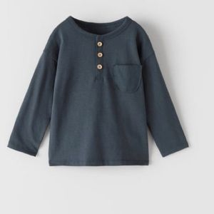 Zara Boys Henley Long Sleeve Tee Shirt NWT